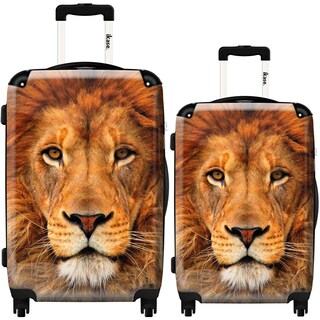 iKase 'Lion' 2-piece Fashion Harside Spinner Luggage Set