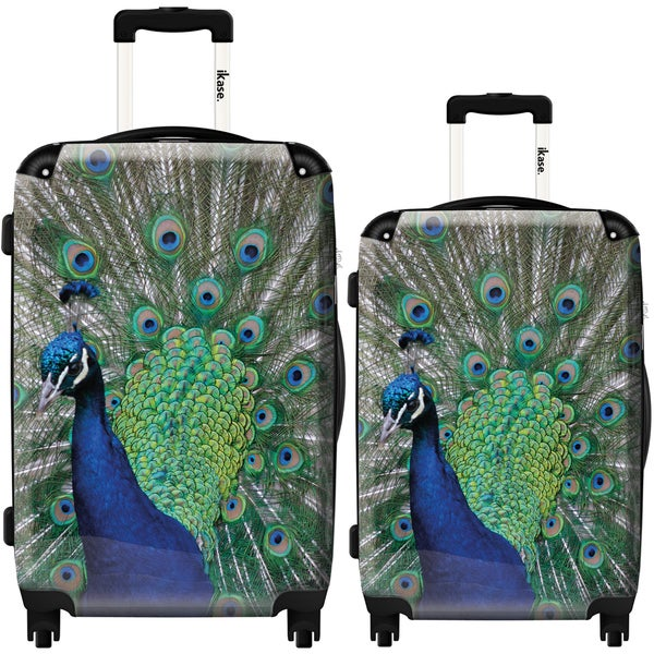 iKase 'Peacock' Blue' 2-piece Fashion Harside Spinner Luggage Set