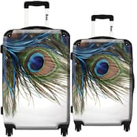 iKase 'Peacock Feather' 2-piece Fashion Harside Spinner Luggage Set