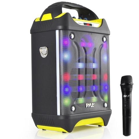 Pyle PWMA275BT Portable Bluetooth Karaoke Speaker System Flashing DJ Lights Rechargeable Battery Wireless Mic MP3/USB/SD Radio