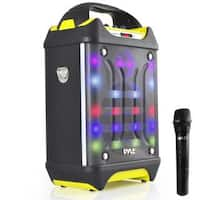 Pyle PWMA275BT Portable Bluetooth Karaoke Speaker System Flashing DJ Lights Rechargeable Battery Wireless Mic MP3/USB/SD Radio