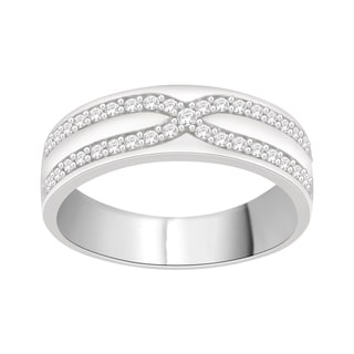 Trillion Designs Sterling Silver 1/4ct TDW Natural Diamond Cluster Wedding Band