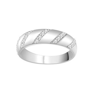 Trillion Designs Sterling Silver 1/4ct TDW Natural Diamond Cluster Wedding Band (H-I, I2)