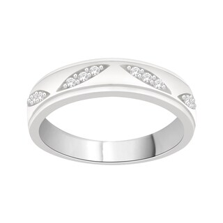 Trillion Designs Sterling Silver 1/8ct TDW Natural Diamond Cluster Wedding Band (H-I, I2)
