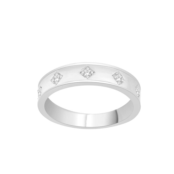 Trillion Designs Sterling Silver Diamond Accent Cluster Wedding Band - White H-I