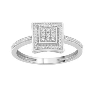 Trillion Designs Sterling Silver 1/10ct TDW Natural Diamond Cluster Engagement Ring