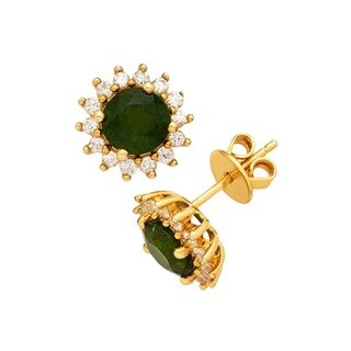 STERLING SILVER 14K YELLOW GOLD PLATED SUNBURST CHROME DIOPSIDE STUD EARRINGS W/ ROUND WHITE ZIRCON