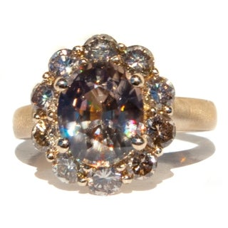 14k Gold Champagne Zircon and Champagne Diamond Ring