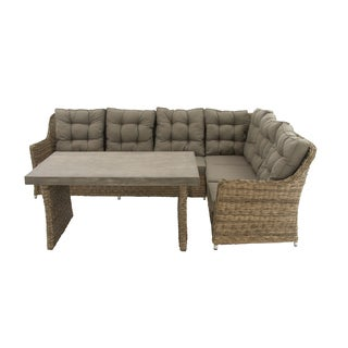 Two-Piece Brown Outdoor Sofa Sectional