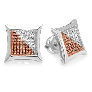 Elora Sterling Silver 1/3ct TW White and Red Round Diamond Micro Pave Setting Kite Shape Stud Earrings (I-