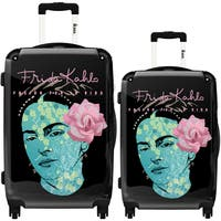 iKase 'Frida Kahlo Self Portrait Black Background' 2-piece Fashion Harside Spinner Luggage Set