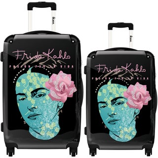 iKase 'Frida Kahlo Self Portrait Black Background' 2-piece Fashion Harside Spinner Luggage Set