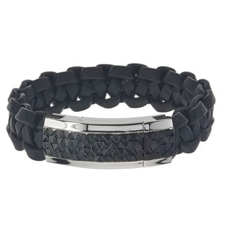 Men's Stainless Steel Black Braided Leather ID Bracelet By Ever One