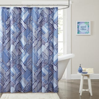 Intelligent Design Remy Microfiber Printed Patchwork Shower Curtain