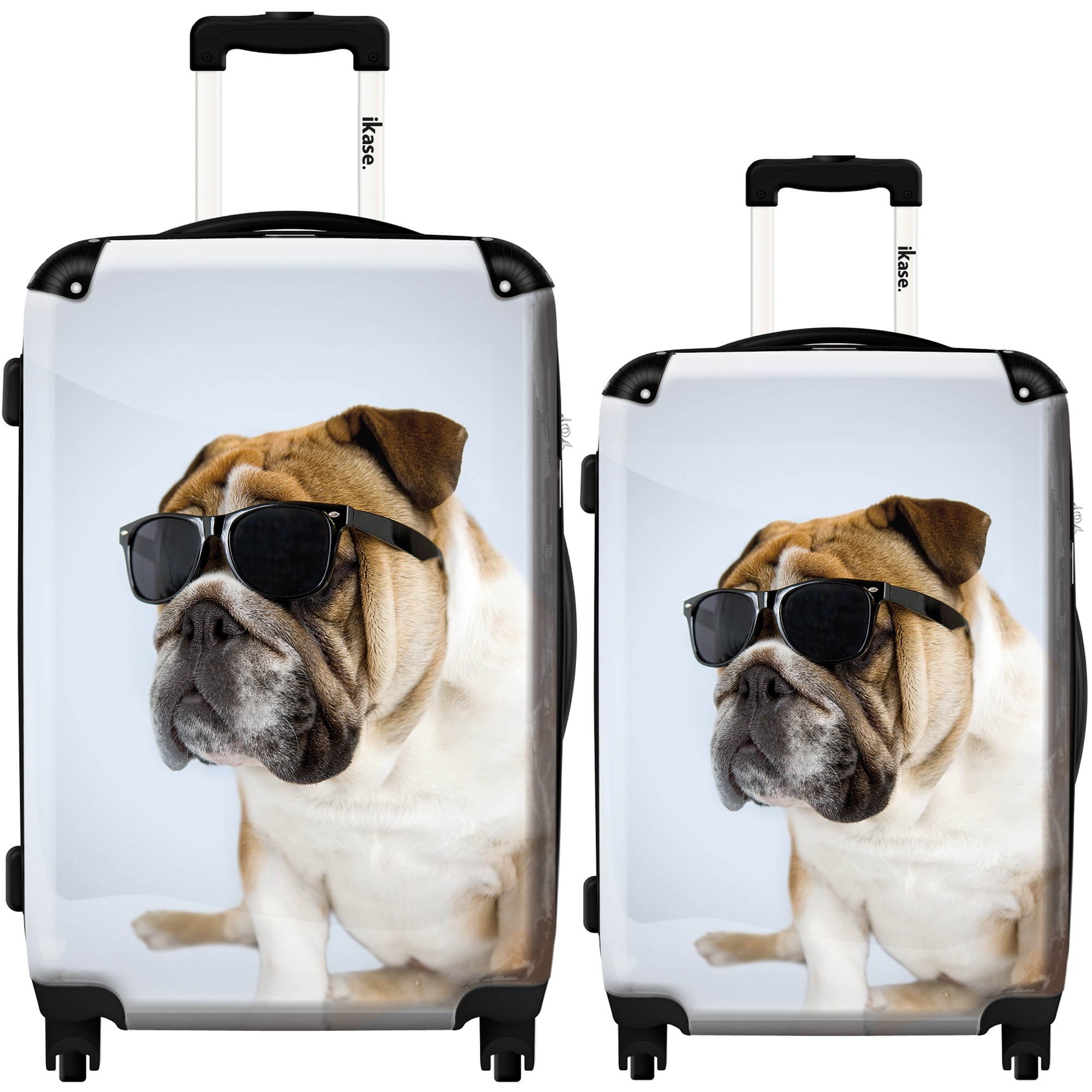 Ikase Hardside Spinner Luggage Dog with a black glasses