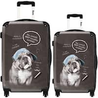 iKase 'Rebel Dog' 2-piece Fashion Harside Spinner Luggage Set