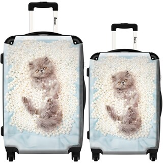 iKase 'Pearl White Cat' 2-piece Fashion Harside Spinner Luggage Set