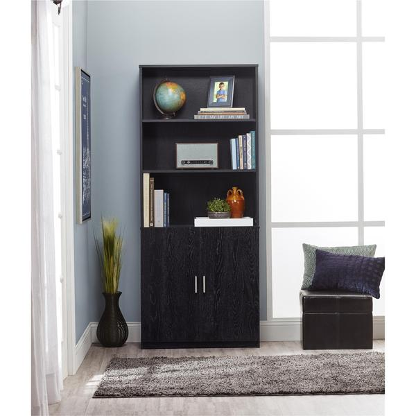 ameriwood home moberly black ebony ash bookcase with doors free shipping today. Black Bedroom Furniture Sets. Home Design Ideas