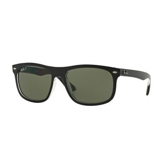 Ray-Ban Men's RB4226F Black Plastic Rectangle Polarized Sunglasses