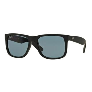 Ray-Ban Men's RB4165 Black Plastic Rectangle Polarized Sunglasses