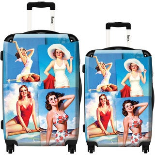 iKase '4 Pin-ups At The Beach' 2-piece Fashion Harside Spinner Luggage Set