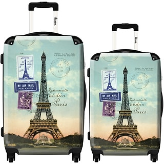 iKase 'Eiffel Tower Paris Stamps' 2-piece Fashion Harside Spinner Luggage Set