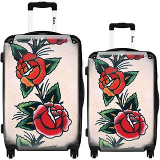 iKase 'Roses Tattoo' 2-piece Fashion Harside Spinner Luggage Set