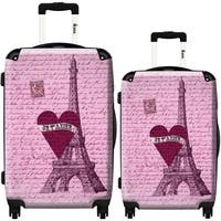 iKase 'Paris I Love You' 2-piece Fashion Harside Spinner Luggage Set