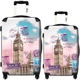 iKase 'Big Ben Post Card' 2-piece Fashion Harside Spinner Luggage Set