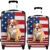 iKase 'American Dog Flag' 2-piece Fashion Harside Spinner Luggage Set