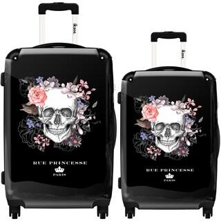 iKase 'Flower Skull' 2-piece Fashion Harside Spinner Luggage Set