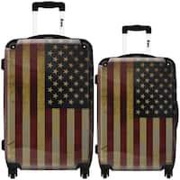 iKase 'American Vintage Flag' 2-piece Fashion Harside Spinner Luggage Set