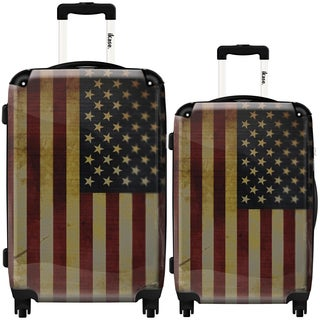 iKase 'American Vintage Flag' 2-piece Fashion Harside Spinner Luggage Set