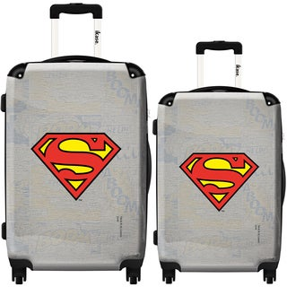 iKase 'Superman Grey Emblem' 2-piece Fashion Hardside Spinner Luggage Set