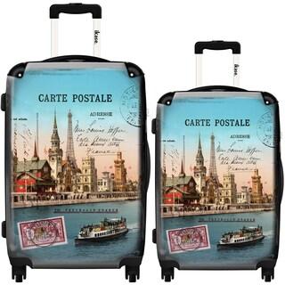 iKase World Sunset 2-piece Fashion Hardside Spinner Luggage Set