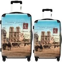 iKase 'Notre Dame and Paris' 2-piece Fashion Hardside Spinner Luggage Set