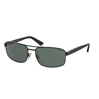 Polo by Ralph Lauren Men's PH3086 Black Metal Rectangle Sunglasses