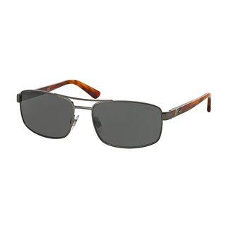 Polo by Ralph Lauren Men's PH3086 Silver Metal Rectangle Sunglasses