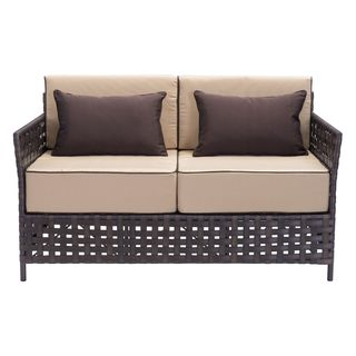 Pinery Brown and Beige Outdoor Woven Loveseat
