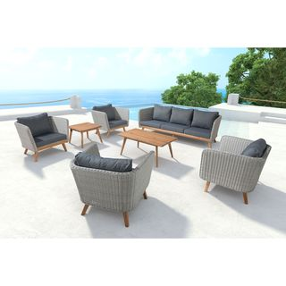 Grace Bay Grey Wicker Armchair with Solid Wood Legs