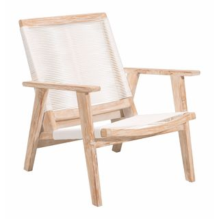 West Port Solid Teak Arm Chair With White Synthetic Weave