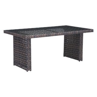 Pinery Brown Woven Dining Table With Glass Tabletop