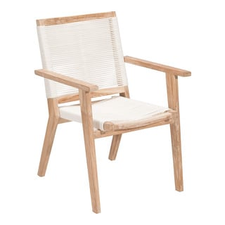 West Port Solid Teak Wood Outdoor Dining Chair With White Synthetic Weave
