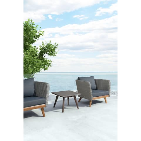 Daughter Cement and Solid Acacia Wood Outdoor Coffee Table