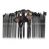 Zodaca Black Professional Cosmetic Makeup Brushes Set for Foundation/ Blush with Roll Up Leather Pouch Bag (Set of 32)