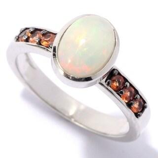SS Ethiopian Opal & Orange Sapphire Ring