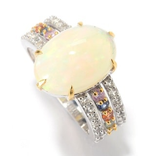 SS Ethiopian Opal, White Topaz & Sapphire Ring