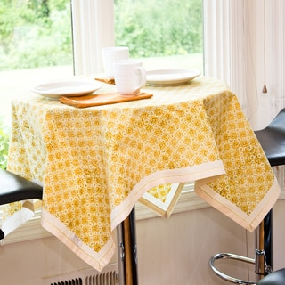 Handmade Yellow Safflower Block Print Natural Kora Cotton Tablecloth (India)