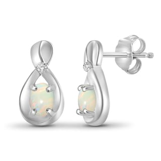 Jewelonfire 0.28 CTW Opal Gemstone & Accent White Diamond Earring in Sterling Silver