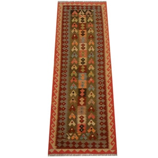 Herat Oriental Afghan Hand-woven Vegetable Dye Wool Kilim Runner (2'10 x 8'2)